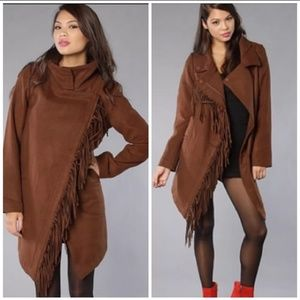 BB Dakota Oxton asymmetric fringe brown coat